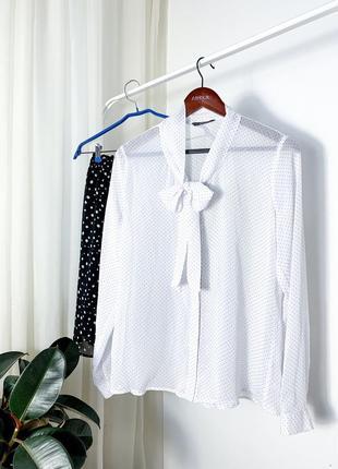 Белая блузку в горошек мелкий