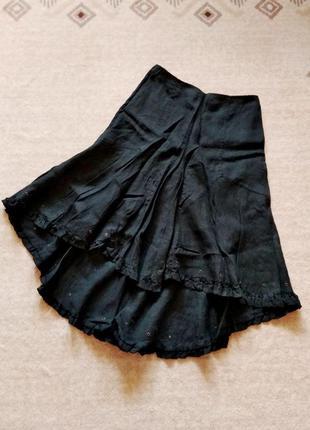 36-38р. чёрная льняная юбка со шлейфом i blues