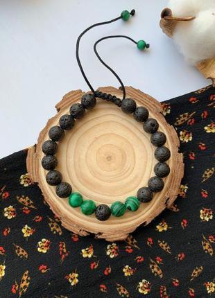 Женский браслет из натурального камня, веревочный плетенный бр...