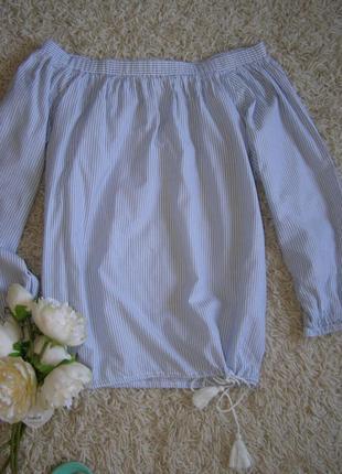 Актуальная блуза открытые плечи полоска 100%  хлопок от h&m 36...
