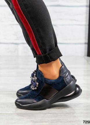 Элитная коллекция кроссовки с декором итальянская кожа замш