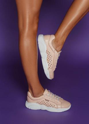 Летние кожаные кроссовки с перфорацией мокасины кеды балетки с...