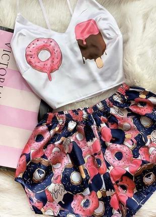Шелковая принтованная пижама мороженое 🍦
