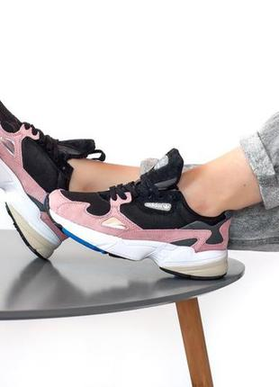 Отличные женские кроссовки adidas falcon pink розовые