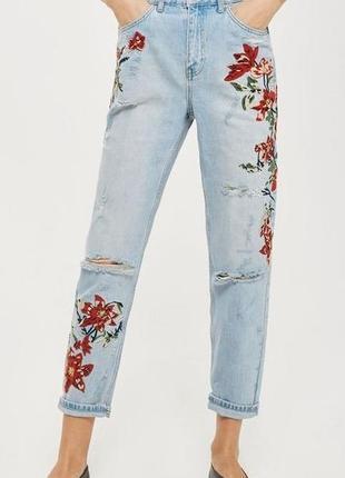 Трендовые джинсы с вышивкой.# розвантажуюсь.