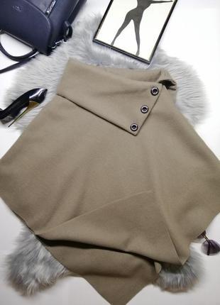 Новое пончо накидка из шерсти оригинал пальто теплое