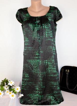 Брендовое черно-зеленое атласное вечернее нарядное миди платье...