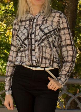 Стильная шифоновая блузка сорочка рубашка в клетку