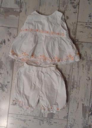 Летний хлопковый костюмчик на девочку до 3 месяцев