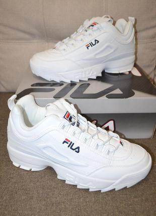 Крутые белые кроссовки fila disruptor ii premium 46 размер