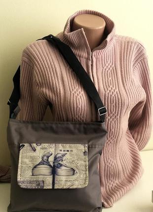 Планшет сумка легкий серый тканевый принт длинная ручка распро...