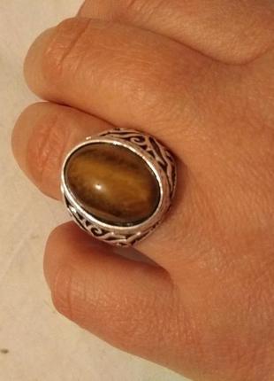 Мужской перстень (тибетский сплав)  тигровый глаз