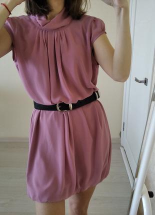 Платье лёгкое нарядное пудрового цвета р.46