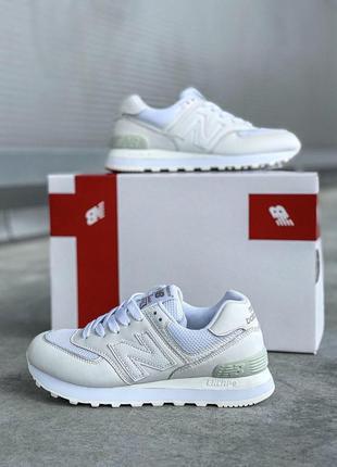 New balance  574 white женские кроссовки весна\лето\осень