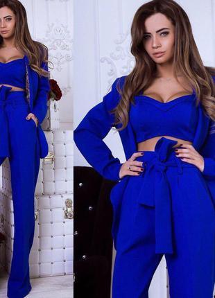 Женский костюм топ+брюки+пиджак