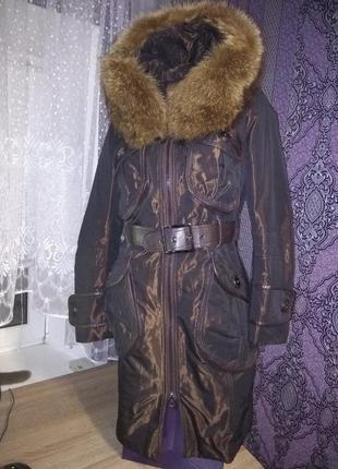 Шикарное зимнее пальто - куртка пихора с натуральным мехом!
