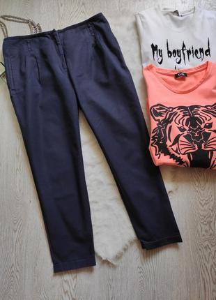 Синие женские натуральные штаны брюки кроп с карманами zara ук...