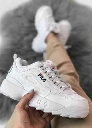 Топовые женские кроссовки fila disruptor 2 white белые
