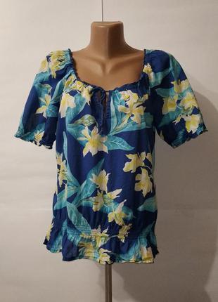 Хлопковая легкая летняя привлекательная блуза по низу на резин...