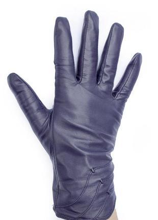 Перчатки из кожи ягненка, мех,синие размер s