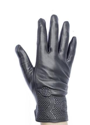 Зимние женские перчатки из кожи ягненка