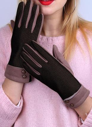 Женские перчатки трикотажные сенсорные на меху