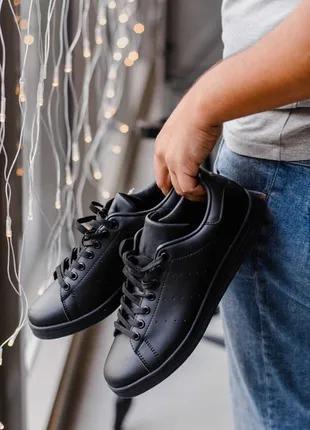 Женские чёрные кеды кроссовки адидас стен смит adidas