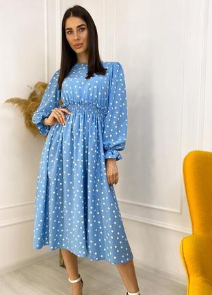Летнее платье в горох голубой