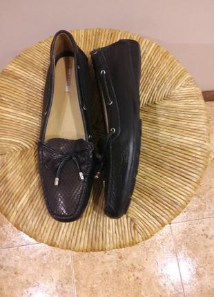Кожаные мокасины туфли geox раз.40-41 (26.5 см)