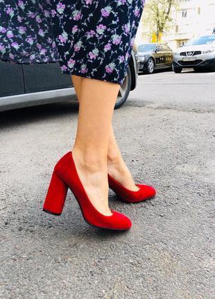 Натуральные замшевые женские туфли 👠 на высоком каблуке