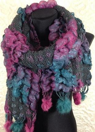 Демисезонный шарф, мех.