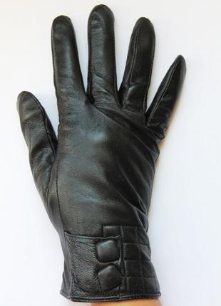 Кожаныезимние перчатки женские на меху.