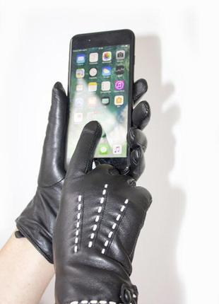 Женские кожаные  перчатки сенсорные , мех.