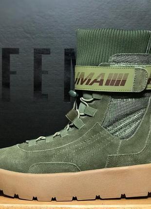 Женские сапоги/ботинки пума, зелёные puma x fenty