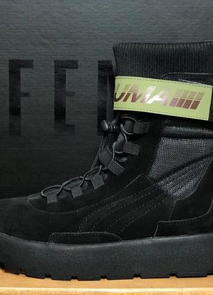 Женские высокие сапоги/ботинки пума, чёрные puma x fenty