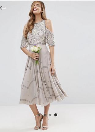 Очень красивое вечернее платье миди расшитое бисером