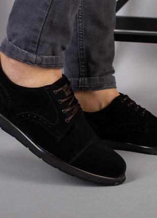 Туфли мужские замшевые черные