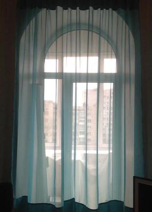 Тюль, штора, занавеска цвет голубая бирюза
