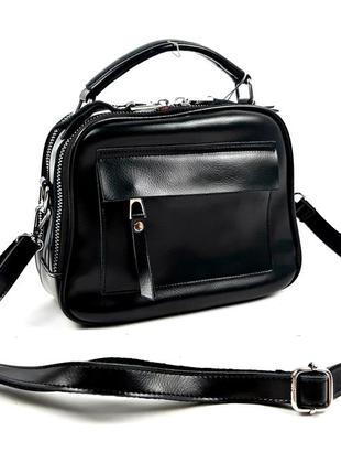 Кожаная женская классическая сумка черная, guecca
