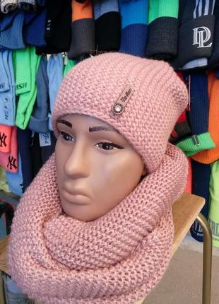 Набор-комплект шапка вязаная бини (чулок) + снуд женский \  de...