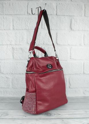 Шикарный рюкзак - сумка velina fabbiano 571183-1 бордовый