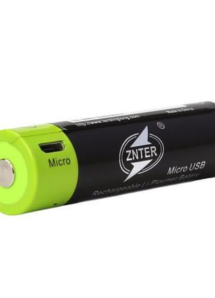 Аккумулятор Znter 18650 3.7V Li-Po 1500 mah, зарядка через micro