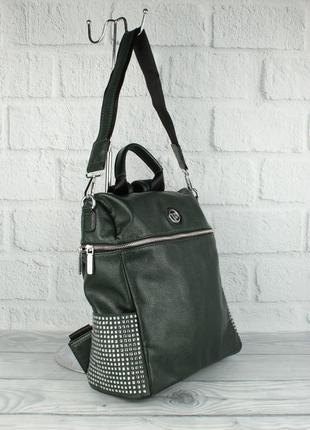 Шикарный рюкзак - сумка velina fabbiano 571183-1 темно-зеленый