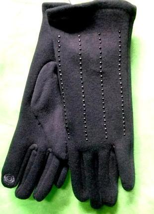 Перчатки женские _осень-зима 2020_трикотаж сенсорный палец