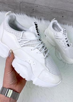 Белые текстильные кроссовки с сеткой,белые летние кроссовки из...