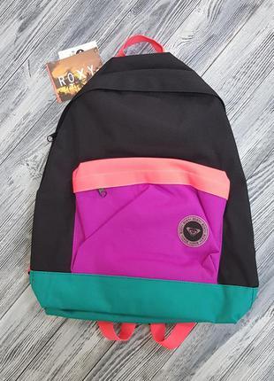 Женский городской рюкзак roxy черный с разноцветными вставками