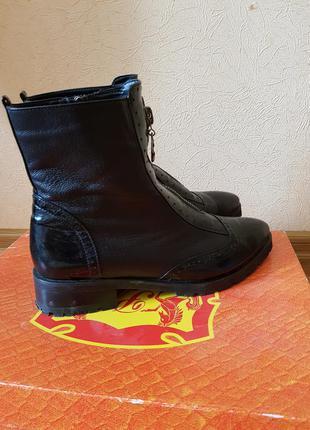 Итальянские кожаные демисезонные ботинки с замочком