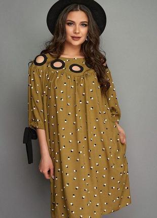 Модное короткое  платье цвета хаки