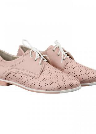 Кожаные женские розовые туфли на шнурках с перфорацией низкий ...