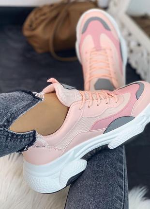 Кроссовки розовые, эко-кожа+текстиль